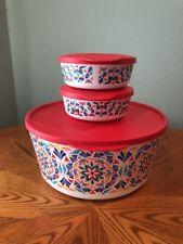 Tupperware Costa Del Sol Serving Bowl & 2 Snack Bowl Set w/Locking Seals NEW
