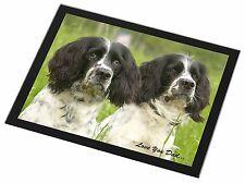 Springer Spaniel Dogs 'Love You Dad' Black Rim Glass Placemat Animal , DAD-117GP