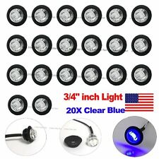 "20X Round 12V 3/4"" Clear Blue Bullet Truck Trailer Side Marker LED Light US Ship"
