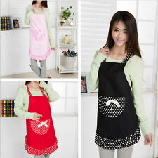 New Hot Cute Ruffled Black&White Dot Women Kitchen Bib Apron Dress with Pocket