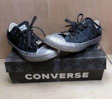 Miley Cyrus Converse Lo Top Trainers Black Velvet Glitter Silver UK 6 EUR 39