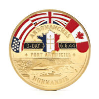 Golden Normandie Arromanches Commemorative Challenge Coin Collection Souvenir UK