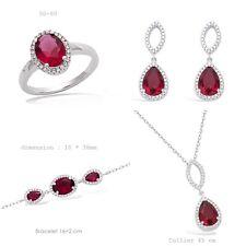 Parure 4PC Rhodié Larme Rubis et Amande de Diamant Cz Argent de Dolly-Bijoux