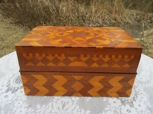 Nice Old Vintage Folk Art Marquetry Inlaid Box Chest