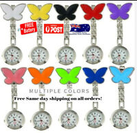 Nurse Clip on Fob Brooch Pendant nursing Butterfly Pocket Watch spare battery