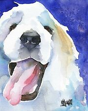 Great Pyrenees Dog Art Print Signed by Artist Ron Krajewski Painting 8x10