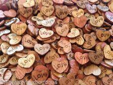 50 x en bois love hearts-craft scrapbook carte embellissements mariage charms
