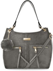 klassische Damen Schultertasche Damentasche Wildleder Optik mit Pompon grau