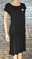 Women's Plain Black Maternity Dual Layered Cotton T-shirt Dress Size 10  -Eu 38