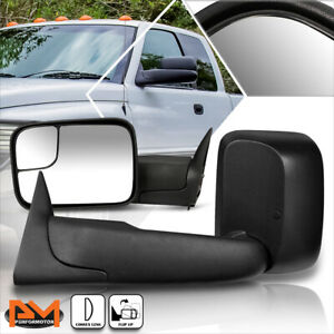 For 94-02 Dodge Ram 1500/2500/3500 Manual Telescoping Black Towing Mirror Pair