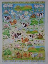 papier pour découpage technique serviette (thème: animaux de la ferme) 68X48cm