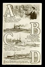 Navy British WW1 ABCD artist drawn Ships PPC 1916