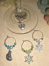 Nautical Boating Themed Wine Glass Charms Set of 4 Great Father's Day Gift Idea!