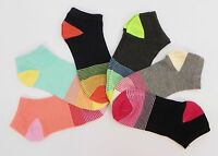6 Pair Pack Women's Casual Fashion Ankle Socks Striped Toe Size 9-11 KR200