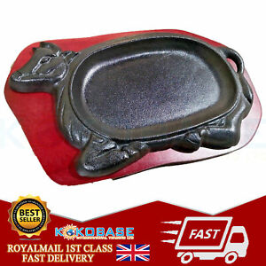 BULL COW Cast Iron Sizzler Sizzling Wooden Stand Curry Kebabs Catering Fajitas