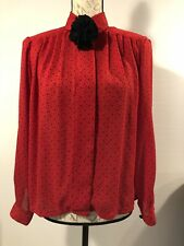 Vtg Josephine Top Blouse Long Sleeve Semi Sheer with Ruffle Ball Size 8 Red