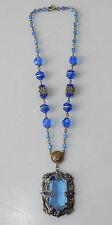 Antique Czech Blue Crystal Paste Marcasite Filigree Necklace Art Nouveau #15