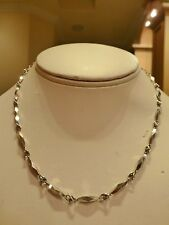 """Estate signed heavy solid platinum chunky 3D bar link chain necklace 15.4"""" 19.4g"""