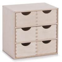 6er Schubladenelement Ordnungsbox Kiste Aufbewahrung Holzschubladen