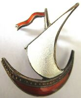 IVAR HOTH OLSO Nowary Sterling Silver Enamel Sail Boat Vintage Pin
