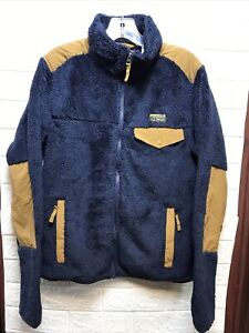 L.L. Bean Mens Hi-Pile Fleece Full Zip Jacket Navy/Saddle Size Small