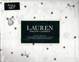 Ralph Lauren Full Sheet Set Honey Bees 4pc Animated Cottage White Yellow Novelty