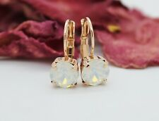 Choose Your Finish White Opal Leverback Earrings with Swarovski Elements