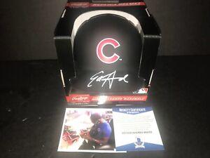 Ed Howard Chicago Cubs Signed BLACK MATTE Mini Helmet Beckett WITNESS COA