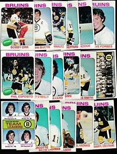 1975 Topps Team SET Lot of 18 Boston BRUINS NM/MT Bobby ORR ESPOSITO O'REILLY