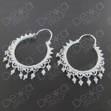 925 Sterling Silver Filigree Hoop Earrings Freshwater Pearls White Ethnic India