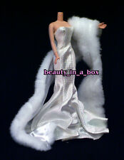 Vogue White Evening Gown Fur Fits Silkstone Fashion for Barbie Doll Q