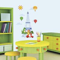 ANIMALS IN PARIS WALL DECALS Baby Nursery Stickers Big Eiffel Tower Room Decor