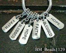 3Pc Hope Blessed Faith Word Tags Origami Owl Style European Bail Charms Or Ring