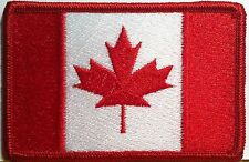 CANADA Flag Patch With VELCRO® BRAND Fastener Military Red Border #8