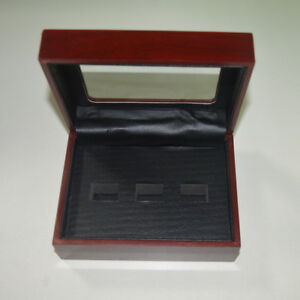 3 Hole Wooden Glass Display Box for  Cup Championship Ring