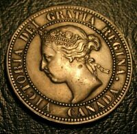 Old Canadian Coins 1893 Large Cent Canada DIE CRACK ERRORS  Highgrade Beauty