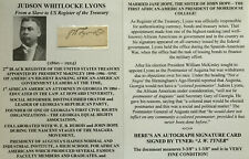 Black Register Us Treasury 1st African American Lawyer Georgia Autograph Signed!