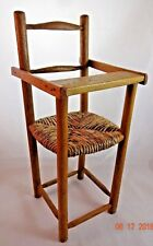 """Vintage Handmade 13"""" Solid Oak Doll High Chair Woven Rush Seat Rustic Primitive"""