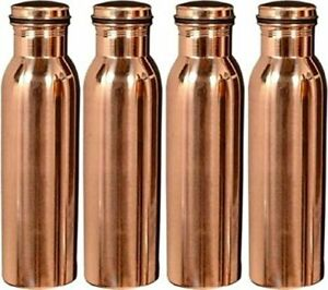 100% Pure Copper Water Bottle For Yoga Ayurveda Health Benefits 950 ml Set of 4