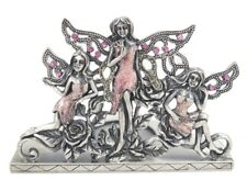 Welforth Pewter Pink Fairies and Garden Tea Light Candle Holder / Desk Decor