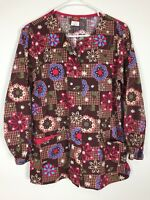Dickies Scrub Jacket Size XS Brown Pink Floral Snaps 3 Pocket Nursing Medical