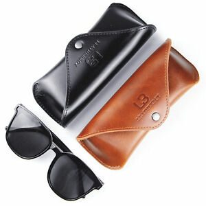 Quality Leather Sunglasses Case Pouch Cowhide Eye Glasses Cases For Men Women