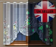 Glow in the dark floral bedroom/dining room net curtain ready to hang 160x300cm