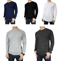 Mens 100% Cotton THERMAL TOP Crew Neck Long Sleeve Shirts Underwear Waffle S-3XL