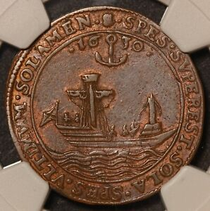1630 Spanish Netherlands Antwerp The Troubles 28mm Bronze Jeton - NGC AU 50 BN