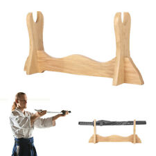 More details for wooden sword flute display stand 1-tier katana holder samurai bracket rack