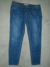 Next blue stretch jeans size 14 long ankle grazer crop slim fit distressed look