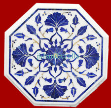 "18"" Marble Tea coffee table top Sofa lapis stone Inlaid handmade homedecor gift"