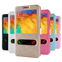 PU Leather Stand Flip Case Cover View Window For Samsung Galaxy & Apple iPhone