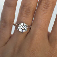 14K Solid White Gold Rings 3.00 Ct Solitaire Moissanite Engagement Ring Size N